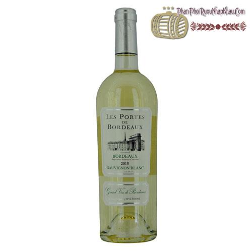 Rượu vang Les Portes de Bordeaux Sauvignon Blanc 2015 - phanphoiruounhapkhau.com