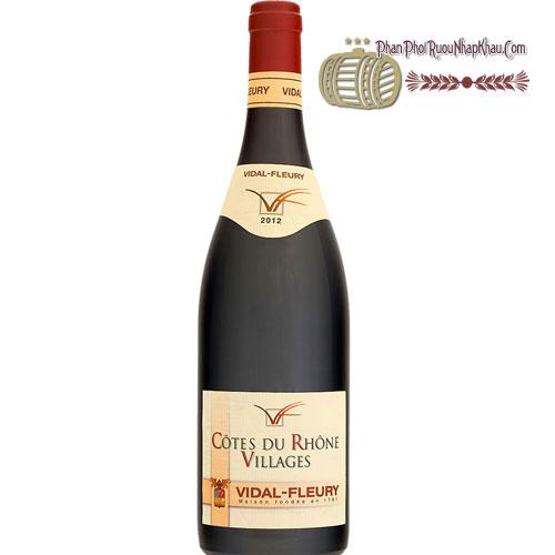 Rượu vang Côtes du Rhône Villages Rouge by Vidal-Fleury
